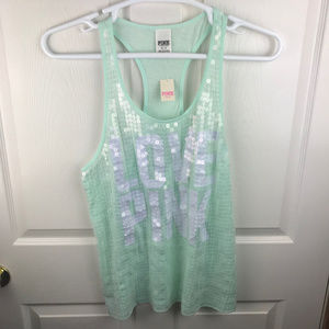 NWT Victoria's Secret PINK Sequin Tank Top Green